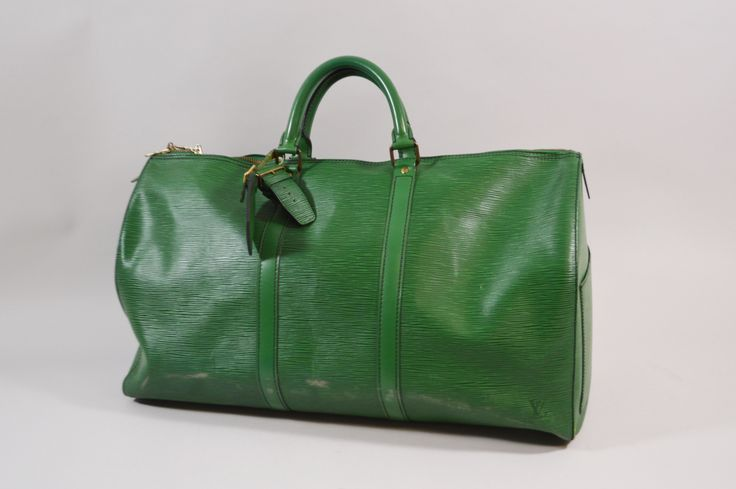 LOUIS VUITTON Sac Keepall 50 vert cuir épi avec étiquette de bagage et poignée