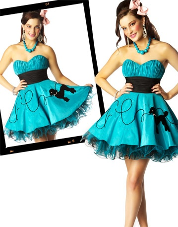 Pretty Blue Poodle Skirt Type Dress With Crinoline