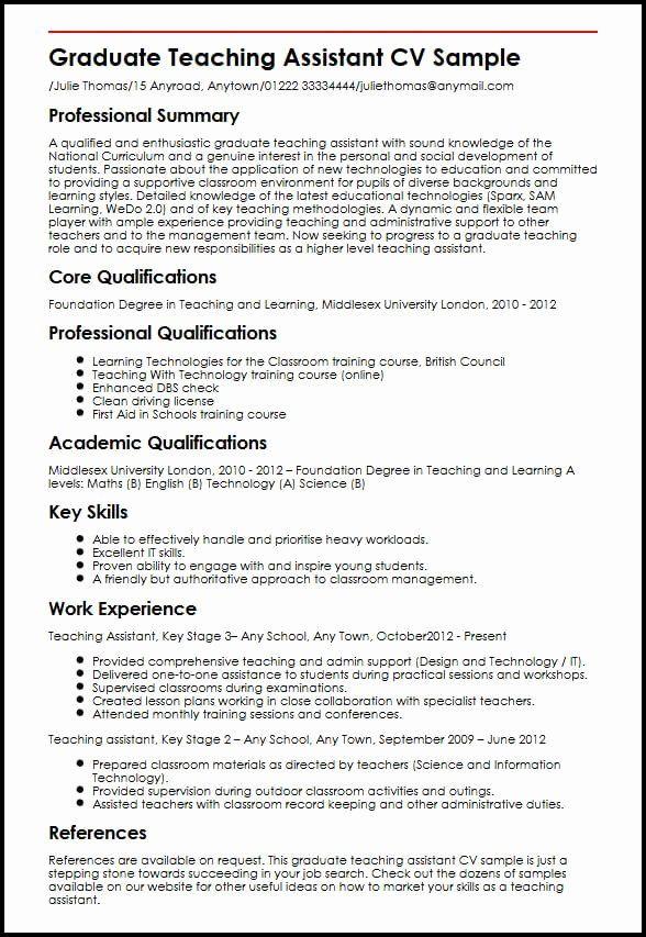 Teacher Assistant Job Description Resume Unique Graduate Teaching