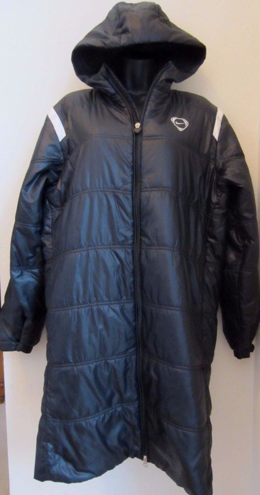 Nike Coat M Medium Black Long Zip Front Hood Jacket  #Nike #Long