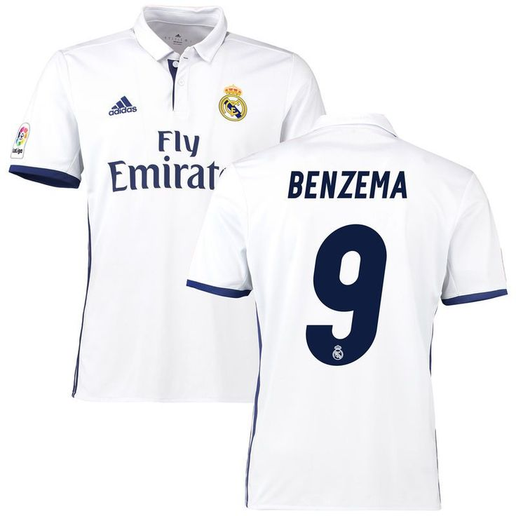 0ff2b5fb2 ... Karim Benzema Real Madrid adidas 201617 Home Replica Jersey - White ...