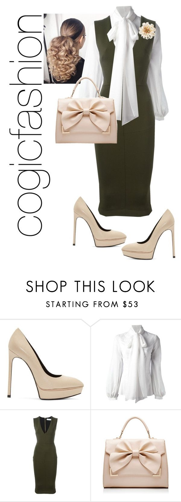 """District Meeting"" by cogic-fashion ❤ liked on Polyvore featuring Yves Saint Laurent, Dondup, Victoria Beckham, Forever New and Carolee"