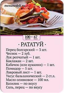 Карточка рецепта Рататуй