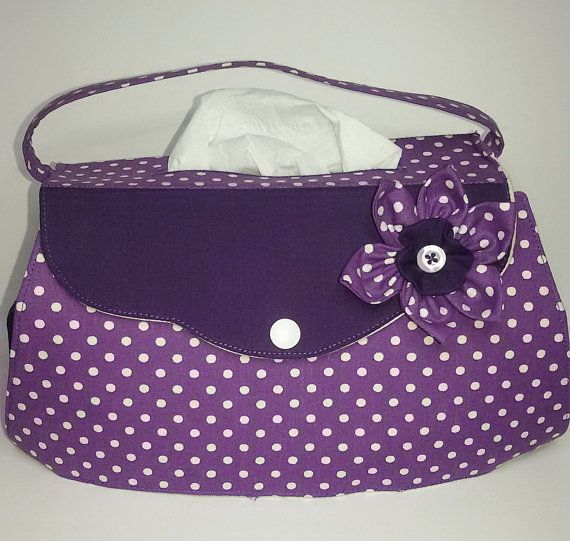 Tissue box cover  handbag purple with white dots  by KleineSterne