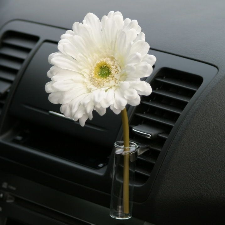 Volkswagon Bug Car Flower Vase White Daisy Flower AutoVase