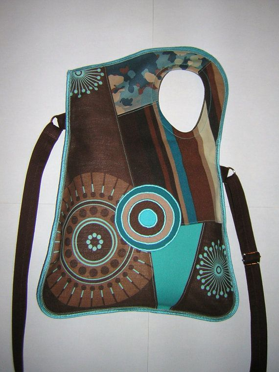 MEDIUM CANVAS BAG  in Brown-Turquoise-Beige with Circles