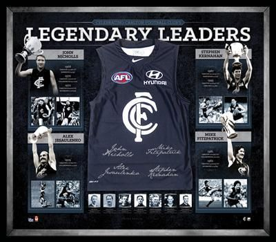 Champions of Carlton - Legendary Leaders As Carlton Football Club launch into its 150th year, it serves as the perfect time to reflect on the players and teams that have been key to the Blues outstanding record of premiership success and individual achievement. This deluxe Guernsey pays tribute to Carlton's Premiership captains, and is signed by four of Carlton's all time legends in Nicholls, Jesaulenko, Fitzpatrick and Kernahan.