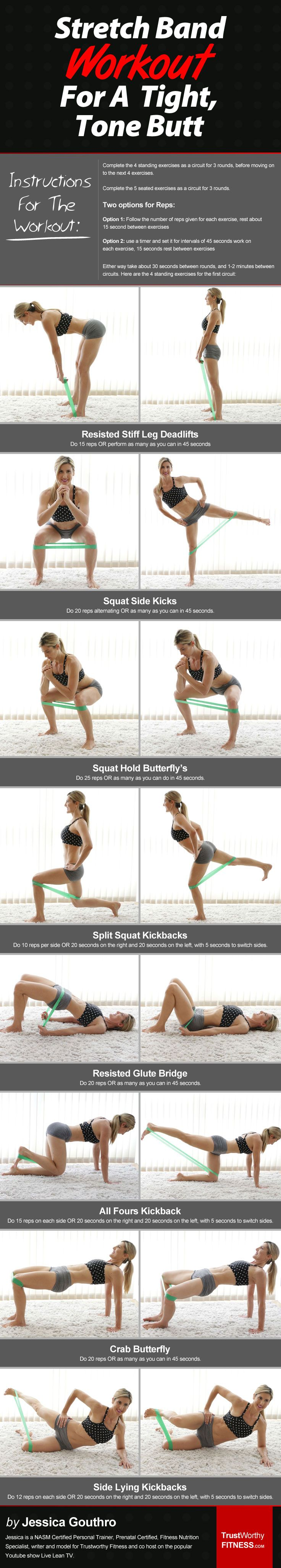 In this step by step workout discover how to get a beach ready booty without going to the gym using Stretch Bands. This workout can also be done without them too. http://trustworthyfitness.com/how-to-use-stretch-bands-tone-your-butt/