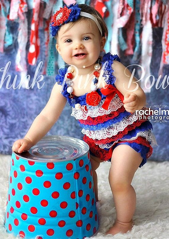 Petti Lace Romper 4th of July Petti Romper by ThinkPinkBows