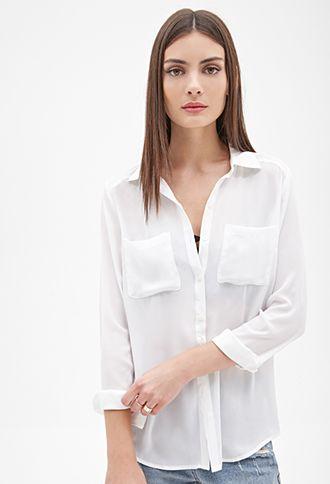 Chiffon Pocket Shirt | FOREVER21 - 2000119795