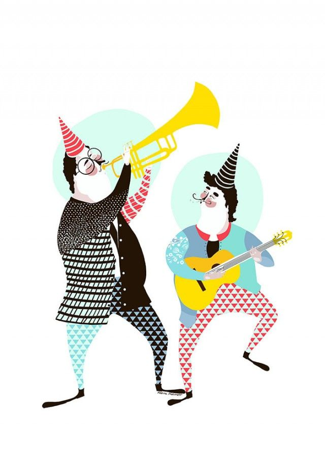 This is another of Adelinas amazing illustration, Musicians! #nordicdesigncollective #adelina #adelinamehmetiillustration #swedishillustration #musician #musicians #musikanter #poster #print #happy #guitar #trumpet #trombone #partyhat #party #circus #jointhecircus #pattern #patterns #flower #flowers #glasses #glasseyes #mustache #music #kidsposter #forkids #childrensposter