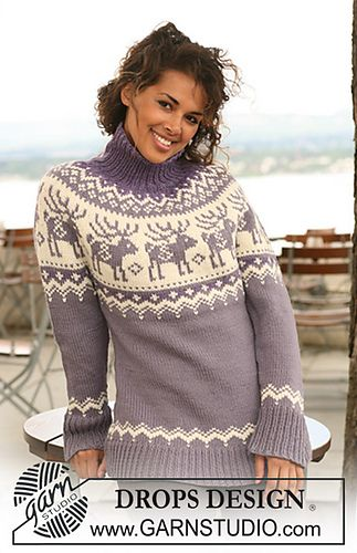 Ravelry: Knitted jumper with raglan sleeves and reindeer pattern on yoke in…