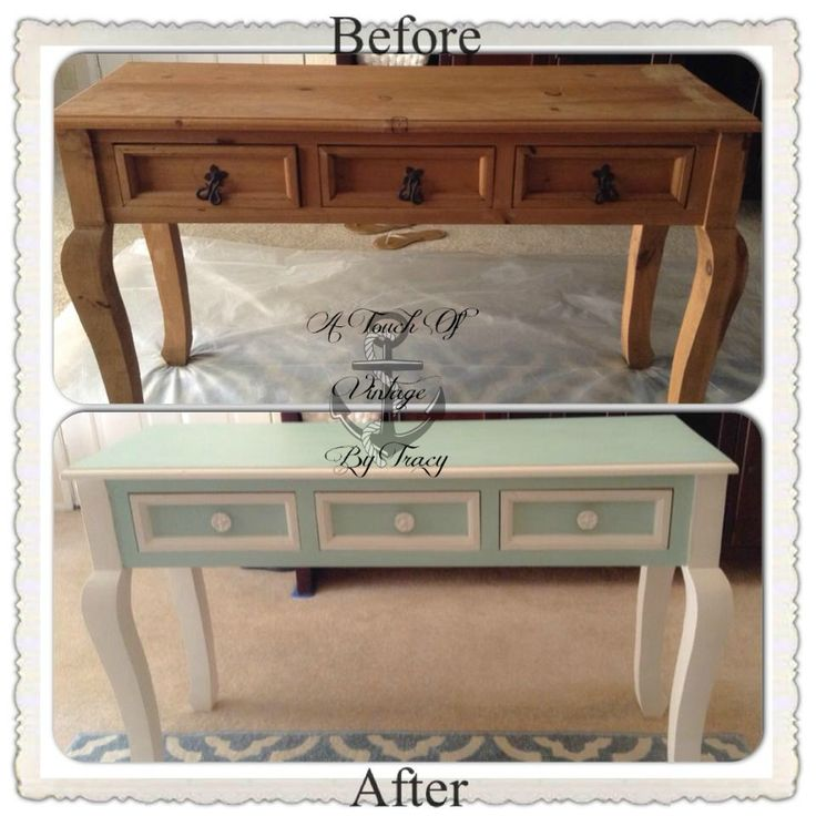 Entry table, this was one of my first ever personal projects, I used Americano Décor Chalk paint which I would never suggest to use for large pieces of furniture, it is not as durable as other brands like Dixie Belle, Annie Sloan or VM&D. This is Mint Green and White.