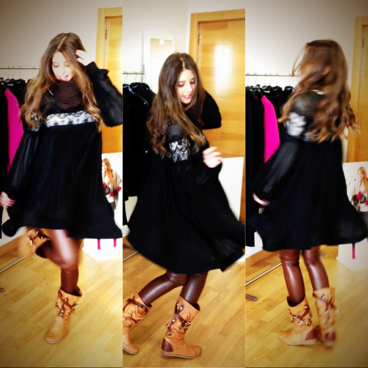 Showroom G-sel.  Dress: G-Sel Boots: hector's