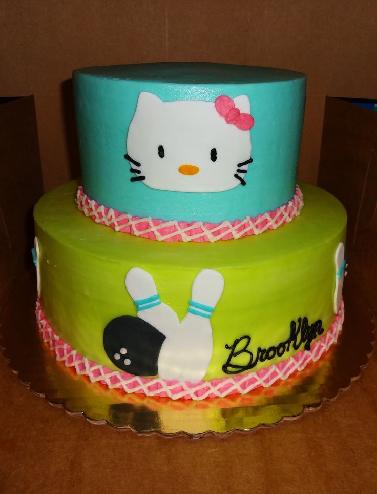 Hello Kitty Bowling Theme Cake  Bowling Ball and Pins  Aqua, Lime Green, Pink Erin Miller