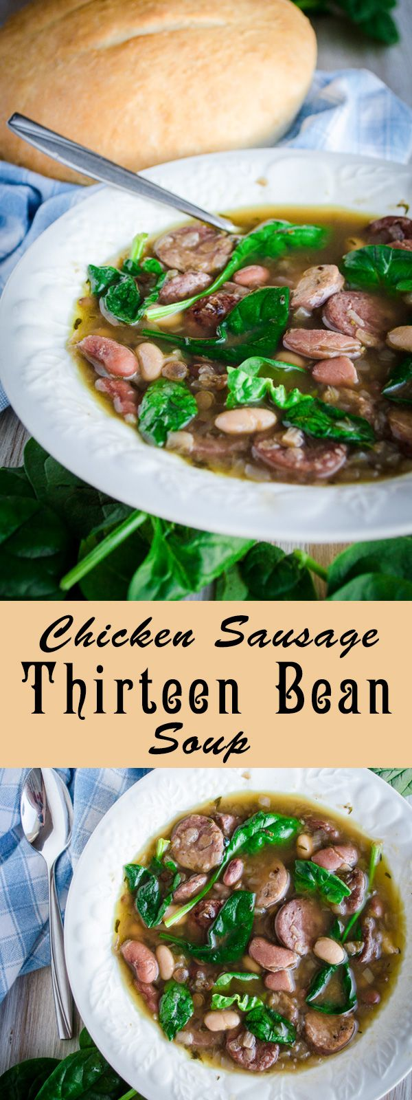 This 13 bean soup is a savory mixture of healthy high-fiber beans, protein filled chicken, and vitamin rich baby spinach. This recipe is where delicious and healthy come together for a win-win meal!