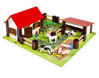 Eichhorn, Small farm playset. Great fun for 3+ years. The farm has 21 pieces including farmer, farmers wife, geese, cows, rabbits, sheep and a tractor. The yard has apple trees, paths, a pond and meadows where the animals live