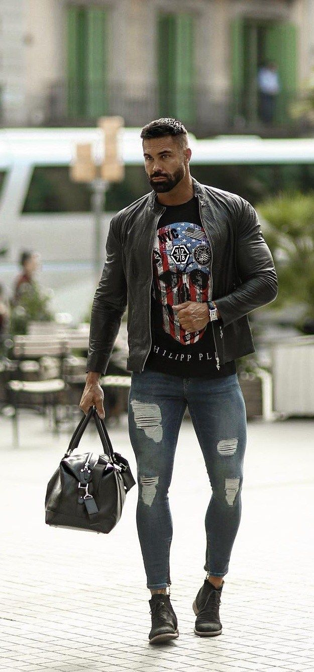 Ripped Denims Or Distressed Denims Know What You Re Wearing Leather Jacket Men Ripped Denim Distressed Denim [ 1336 x 625 Pixel ]