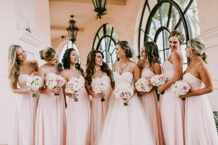 Blushing pink bridesmaids gowns from Azazie!