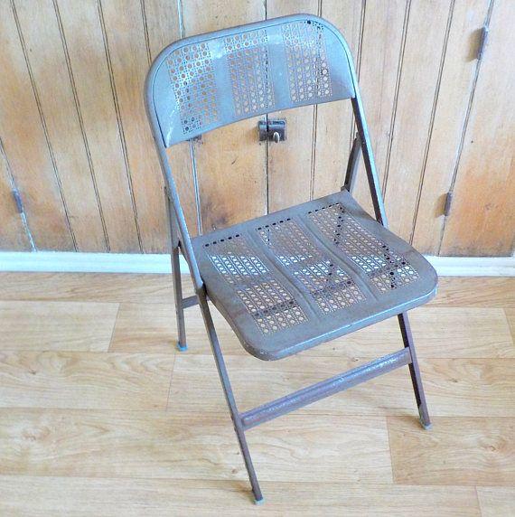 Vintage Lyon Metal Folding Chair  Metal Folding Chair