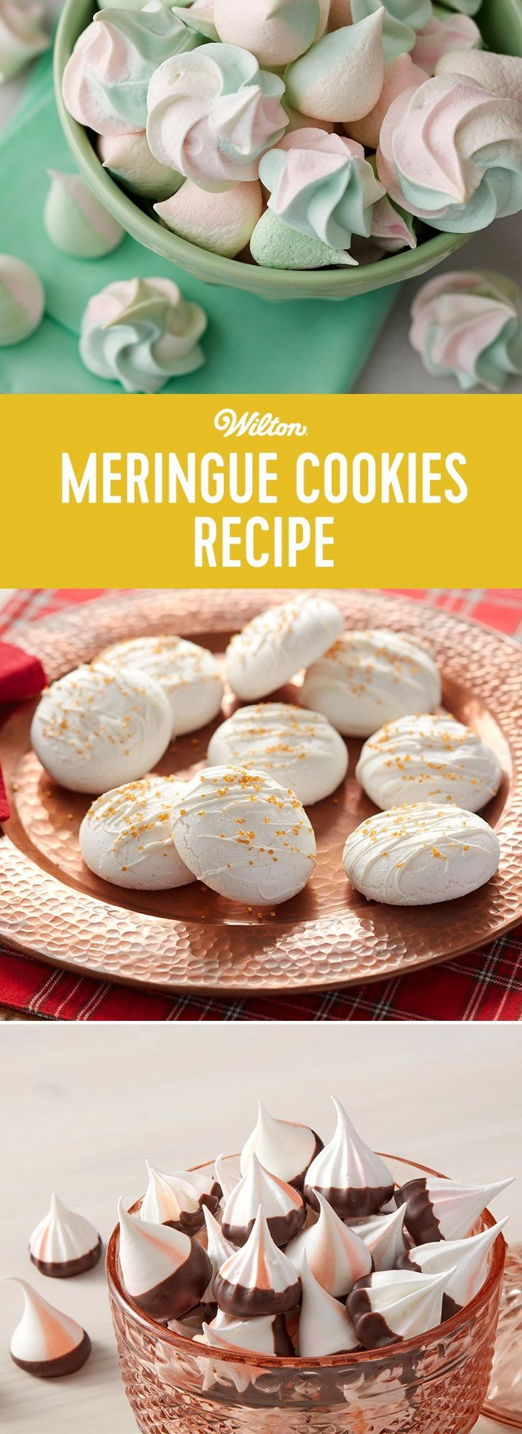 Meringue Cookies Recipe - This basic and easy meringue cookie recipe can be dressed up however you like. Add these airy little cookies to the tops of pies and cakes, or dress them up with different colors and sprinkles.