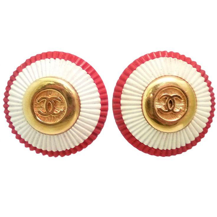 Vintage Signed Chanel Logo Earrings | 1stdibs.com