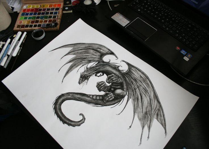 fantasy dragon tattoo designs | The dragon tattoo design by Striga-art