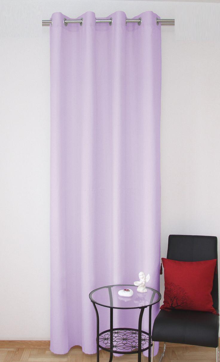 Jednolita zasłona do sypialni w kolorze wrzosowym