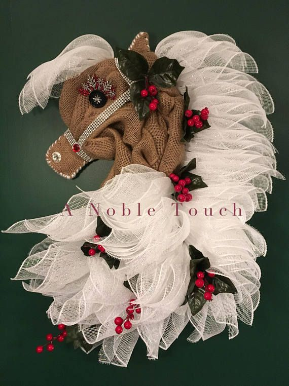 Made to Order Horse Head Wreaths by A Noble Touch! Get one of these lovely horses to hang on your door, in a room, or in your barn! Halter and Bridles will vary in color and size. Its a MUST have for Horse Lovers! The body will be done with tan burlap, unless another option is picked. If