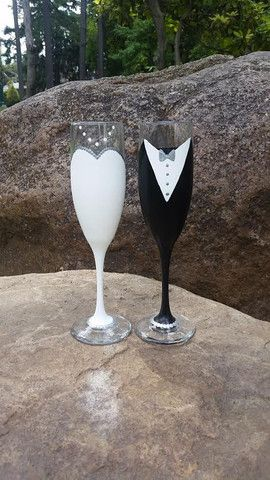 Bride and Groom Hand painted Wedding Champagne Flute Set