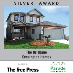Award Winning Kensington Homes - a top rated new home builder in Winnipeg Manitoba - The Brisbane - Silver Award