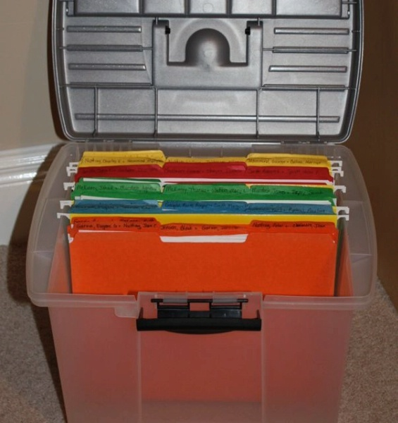 Genealogy Filing System Using Family Folders -Similiar to Organizing classes I taught at GRHS conferences*