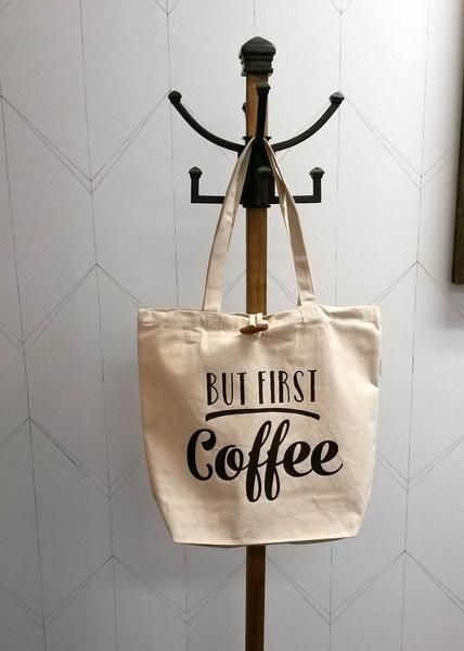 But First Coffee This fashionable 100% recycled 10oz cotton canvas bag (*bags are made in Canada) makes a lovely gift or works wonderful for carrying purchases, | Cotton tote bag customized with heat transfer vinyl designed and created by Netties Expressions |  © 2017 Netties Expressions | https://www.nettiesexpressions.com