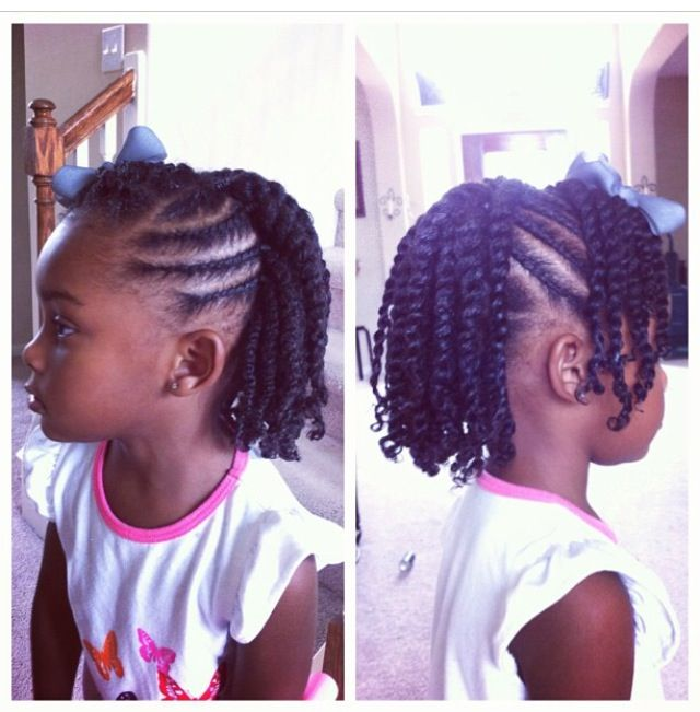 Flat twist with side bang with two strand twist hanging in the back.