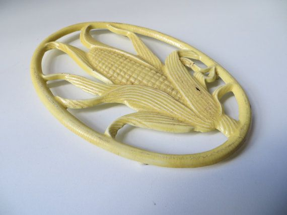 Vintage French yellow Cast Iron Enameled Table Mat,  Trivet,  French country kitchen table, corn decor