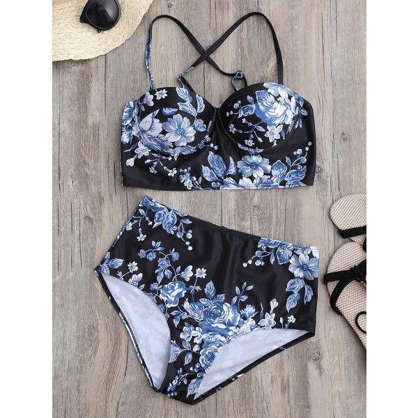 Floral Push Up High Waist Bikini ($15) ❤ liked on Polyvore featuring swimwear, bikinis, bikini two piece, floral two piece, high waisted two piece, high-waisted bikinis and push-up bikinis