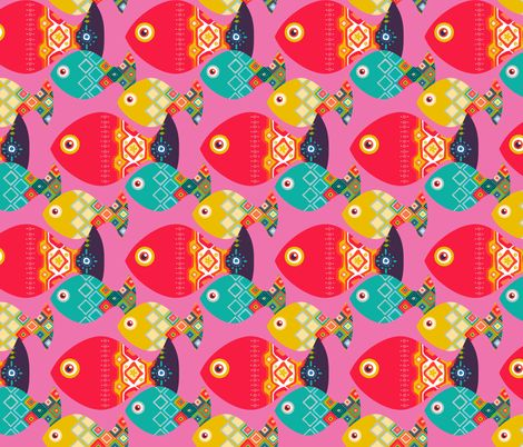 geo fish pink fabric by scrummy on Spoonflower - custom fabric