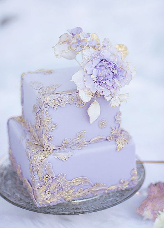 Luxury two tier square purple and gold wedding cake; Featured Photographer: Simply Sweet Photography