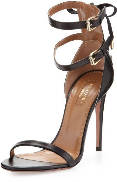 Aquazzura Classy 'Saharienne' Doublestrap Sandal Black €567 Spring Summer 2014 #Shoes #Heels