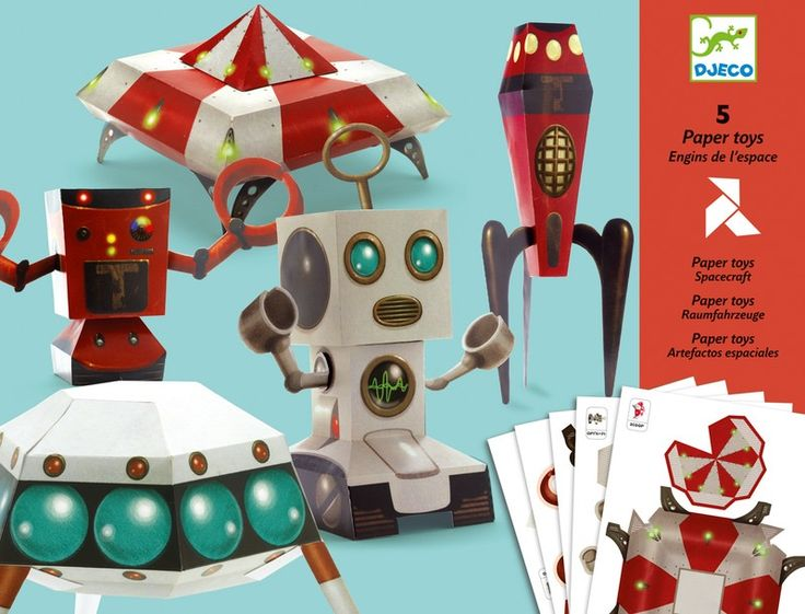 Djeco Spacecraft Paper Toys 5 cute paper toys to pop out and glue together. Children enjoy the sense of accomplishment as each model comes together.