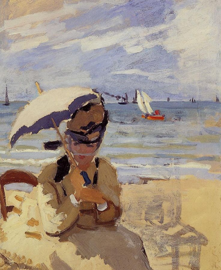 """""""Camille Sitting on the Beach at Trouville"""" (1871) 