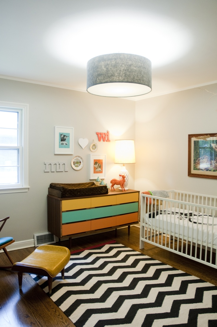 Bright + bold nursery design with enough grey + white to let it pop! #chevron #colorblocking #midcentury #nursery #deer #vintage #baby #collage
