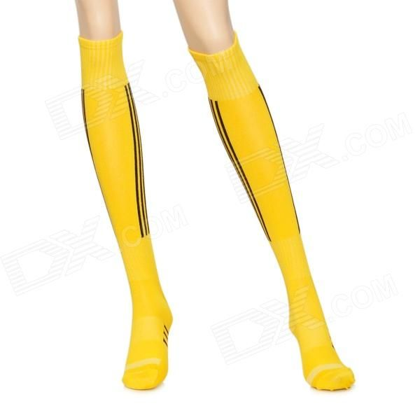 Quantity: 2; Color: Yellow; Material: Nylon + Cotton; Features: Comfortable cotton socks; Superior breathability; Free Size, one size fits most; Other Features: Length: 43cm; Packing List: 2 x Football socks; http://j.mp/1ljUrKY