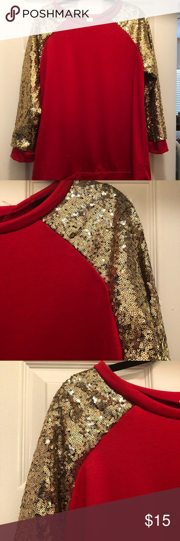 "Gold Sequin & red ""baseball cut"" sweatshirt. NWOT Gold sequin sleeves, red sweatshirt body, baseball-style sweatshirt. Size 2x. Banded bottom. 3/4 sleeves. Never worn. Tops Sweatshirts & Hoodies"