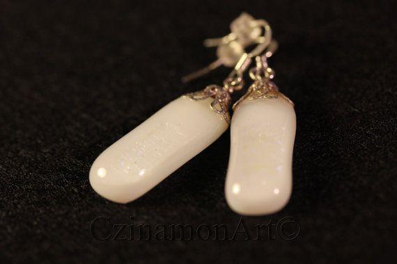 White Dichroic Glass Dangle Earrings the size 1.18 by CzinamonArt, €14.00