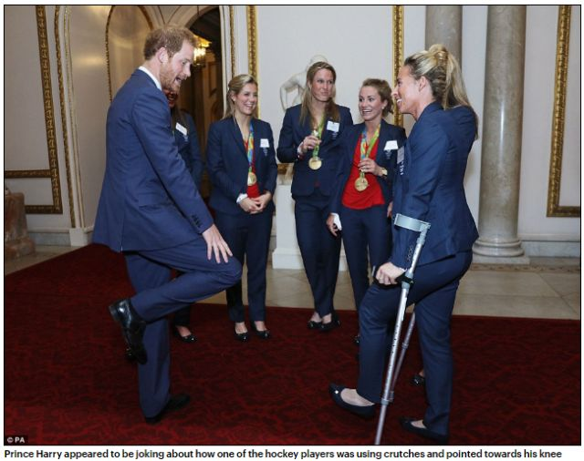 prince-harry-appeared-to-be-joking-about-how-one-of-the-hockey-players-was-using-crutches-and-pointed-towards-his-knee