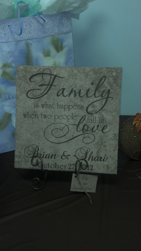 Custom Personalized Ceramic Tile Family Is What Happens When Two People Fall In Love on Etsy, $22.00