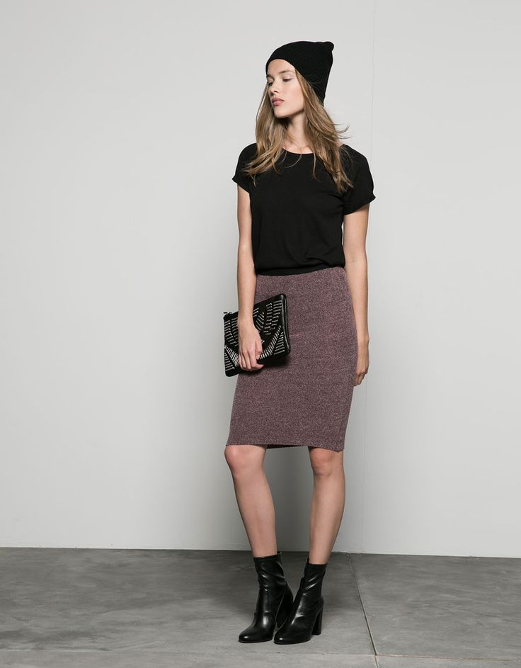 Bershka - ribbed waist tube skirt