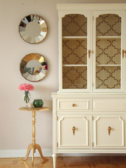 DIY Living Room Hutch Makeover Gorgeous Maybe Black With Teal Paint Inside Gold Knobs