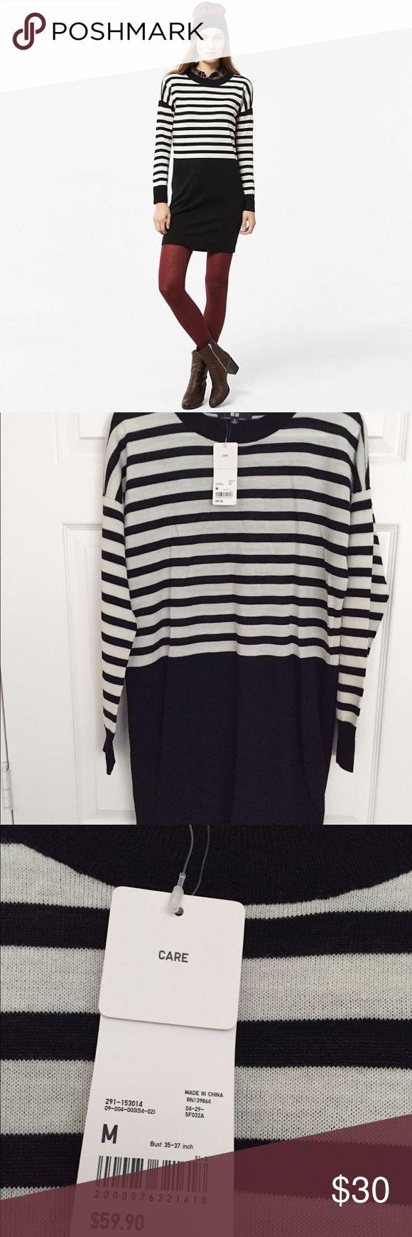 Uniqlo Merino blend striped long sleeve dress Brand new with tag Uniqlo knit long sleeve dress Price firm🕸  - bundle to save Uniqlo Dresses Long Sleeve